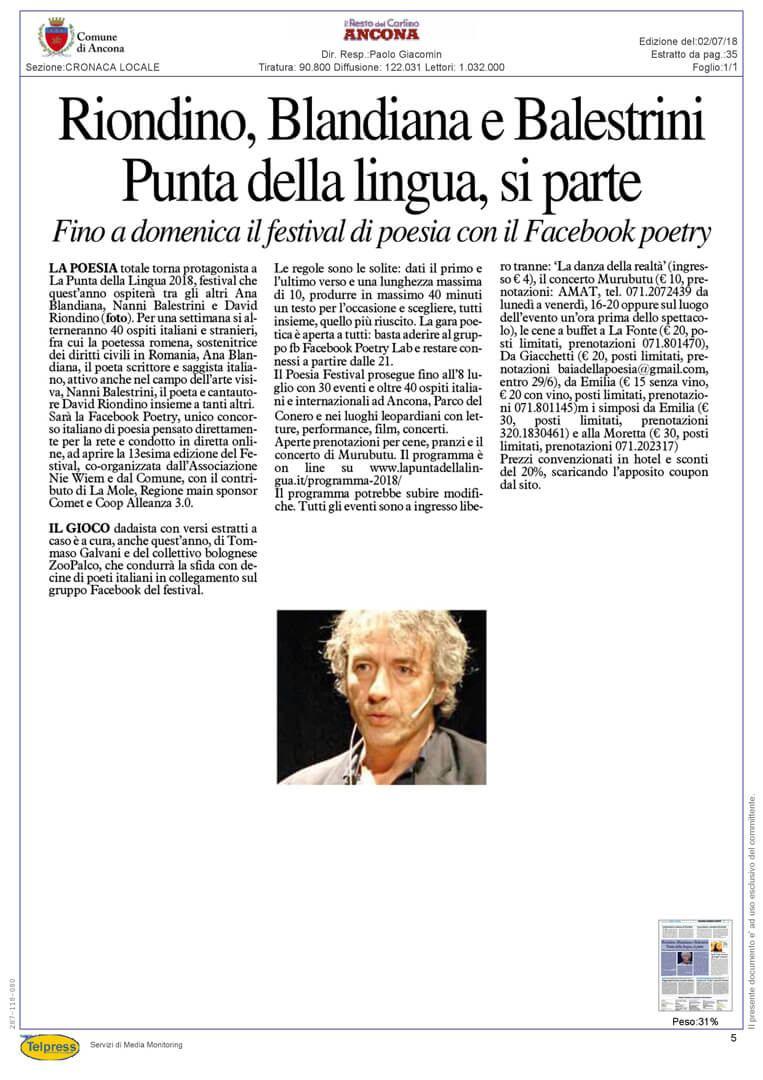 2-07-18 Il Resto del Carlino (Ancona)
