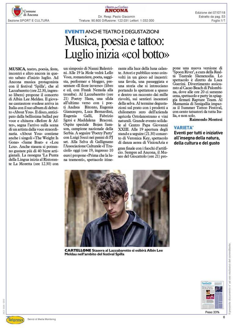 7-07-18 Il Resto del Carlino (Ancona)